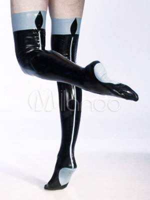 Halloween Unique Black Color Split Latex Women's Stockings Halloween