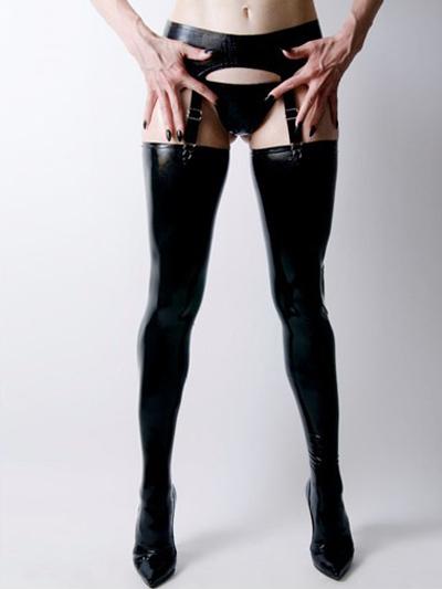 Halloween Sexy Black Latex Women's Stockings Halloween