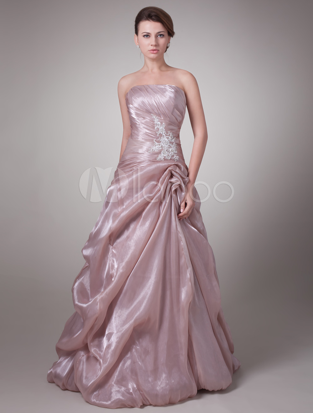 Strapless Mother's Dress Cameo Pink Tulle Ruched Beading Maxi Party Dress