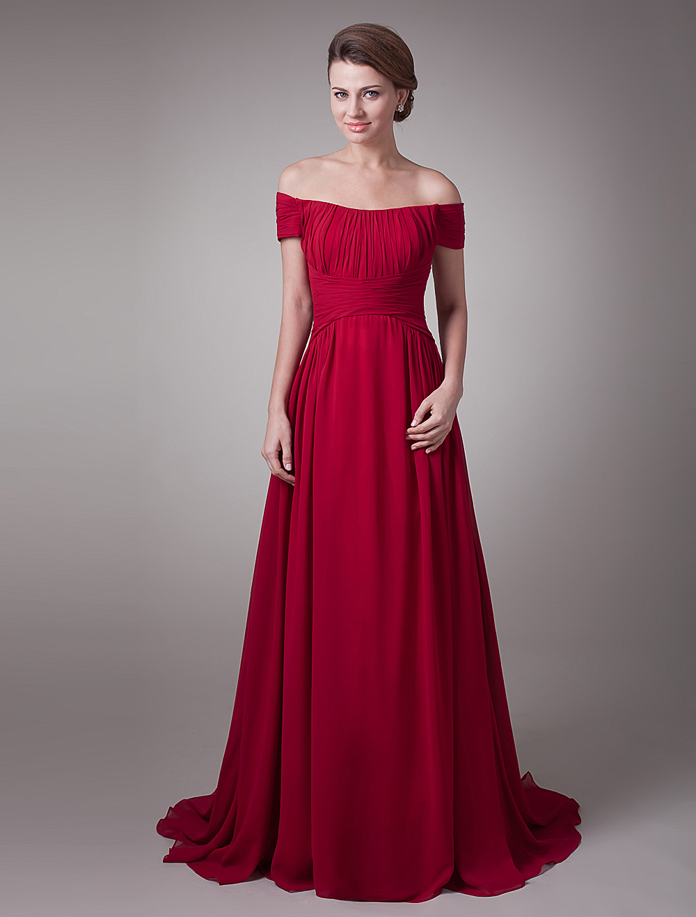 Red Wine Ruched Chiffon Mother of the Bride Dress with Off-The-Shoulder