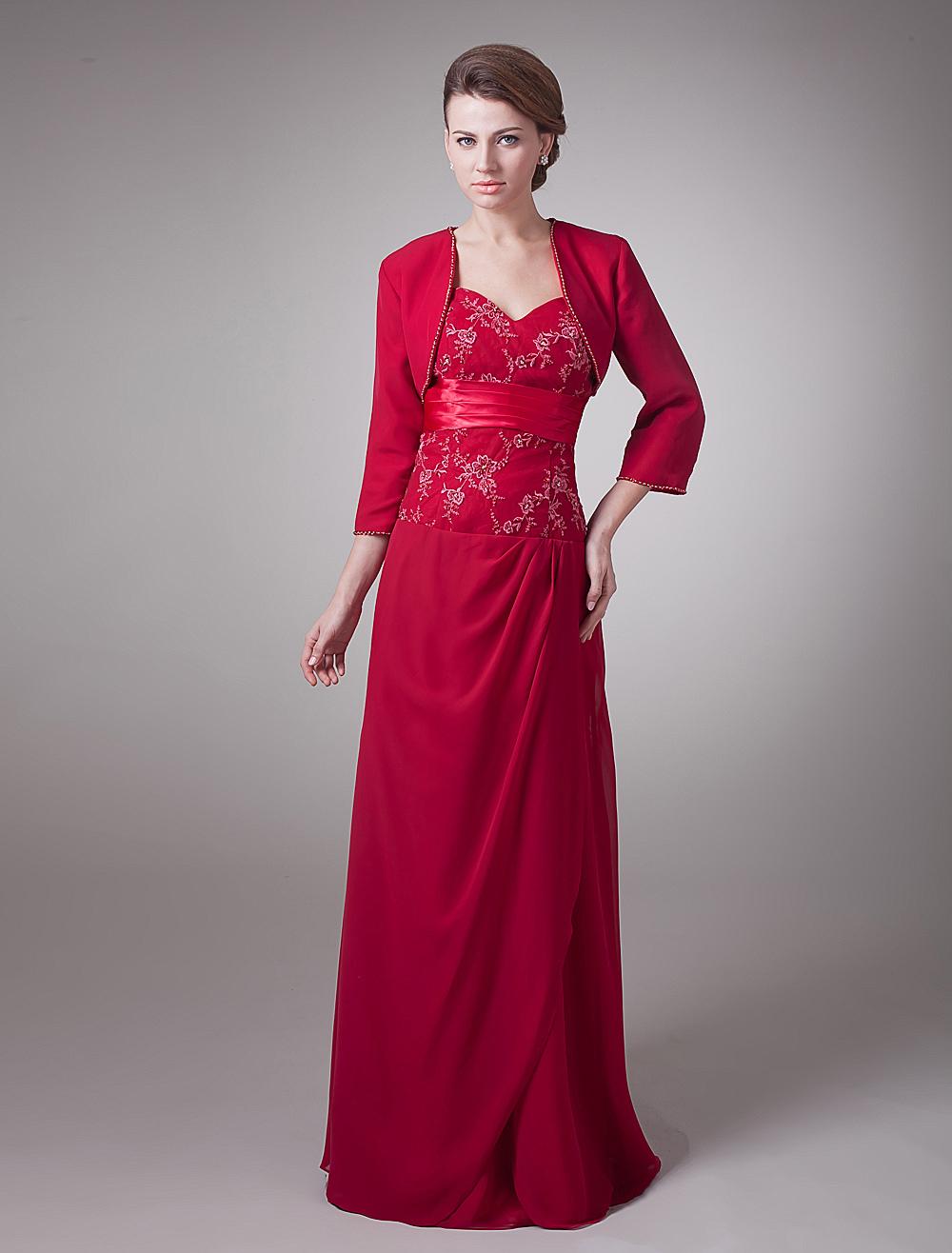 Burgundy Sheath Sweetheart Embroidered Chiffon Bridal Mother Dress