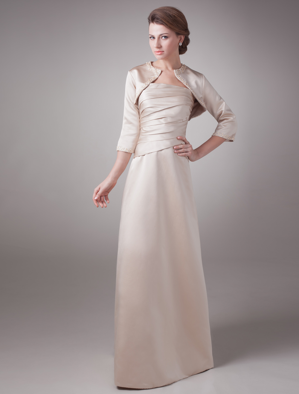 Popular Champagne Maxi Satin Mother of the Bride Dress