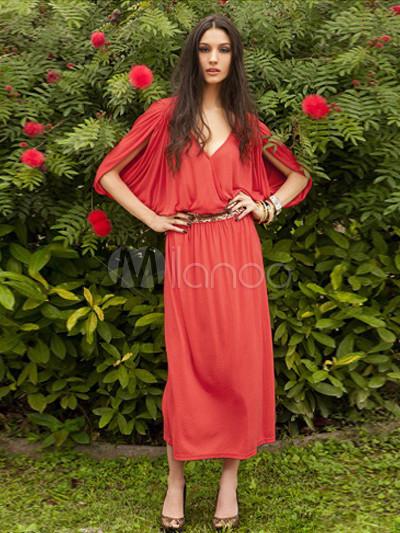 22fd65163ee Séduisante robe longue en mélange de coton rouge avec ceinture détail col V  demi-manches ...