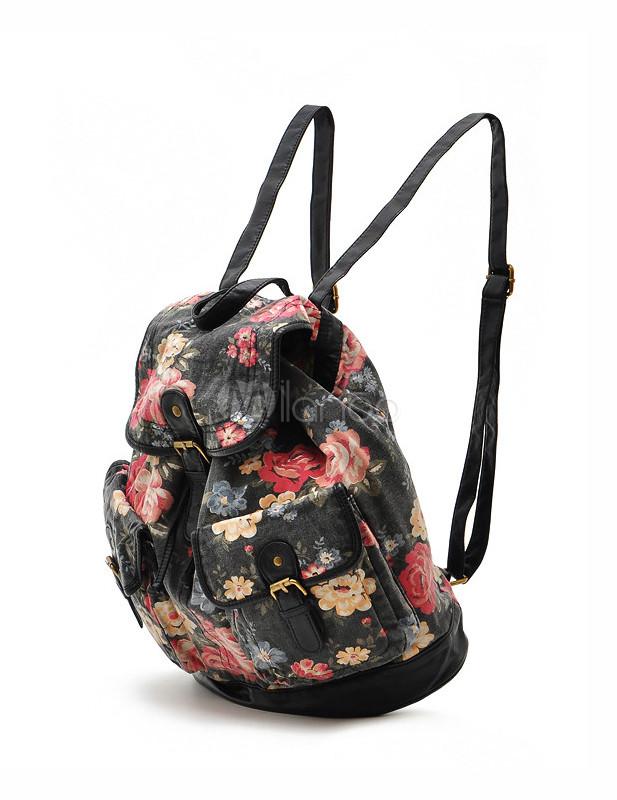 665b6526f15bd Schöner Damen Rucksack aus Stoff mit Blumenmuster und Schnalle-No.1 ...