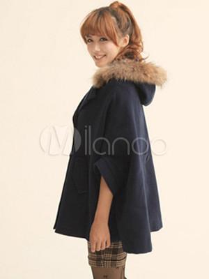 Manteau bleu marine femme cape