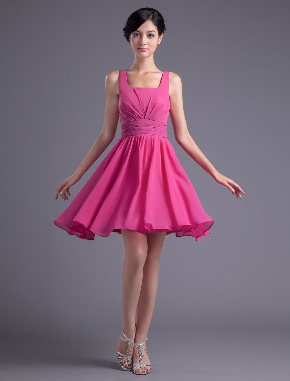 Mini vestido de damas de color fucsia de gasa de línea A - Milanoo.com