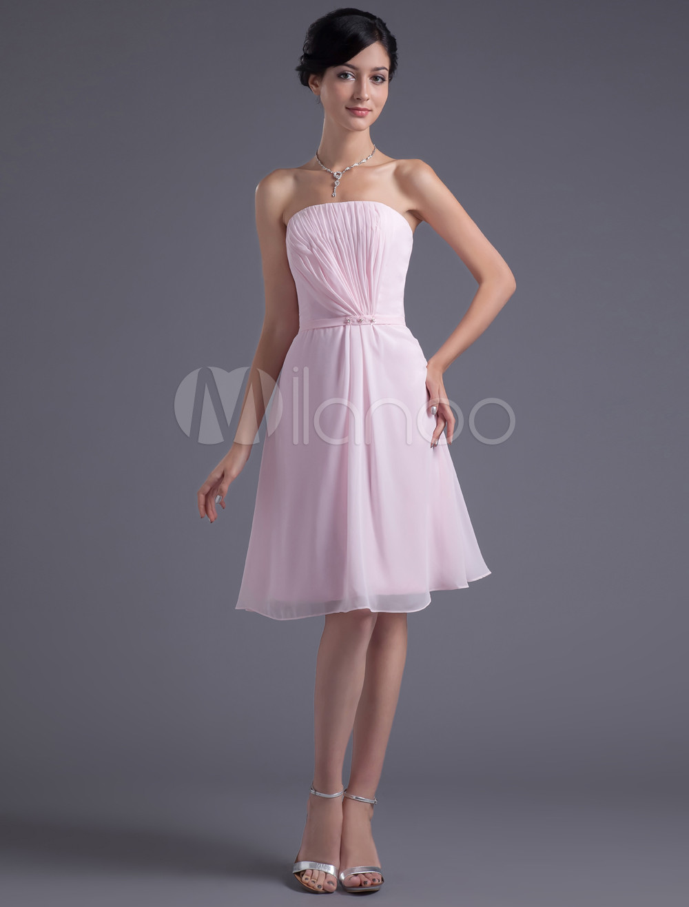 Buy A-line Pink Chiffon Strapless Knee-Length Bridesmaid Dress For Wedding for $100.79 in Milanoo store