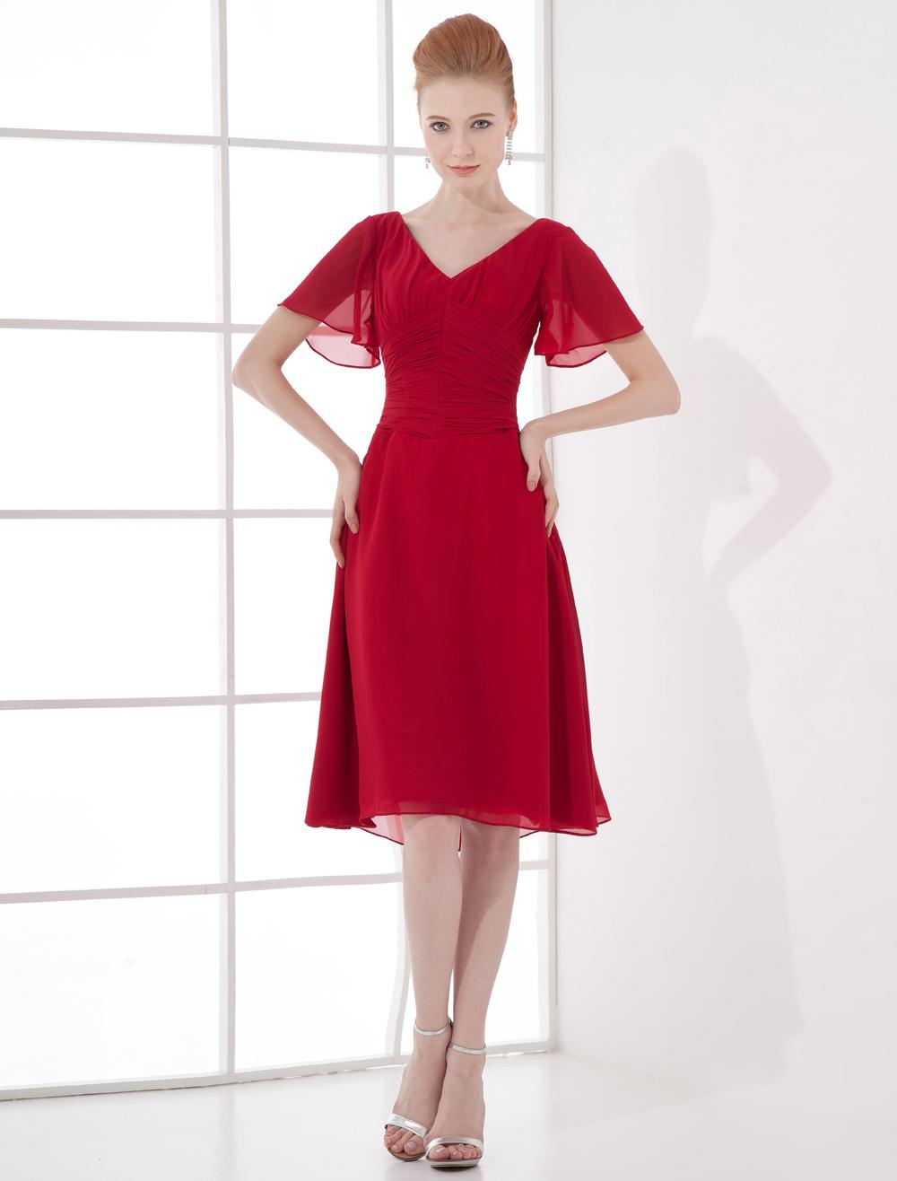 Burgundy Chiffon V-Neck Knee-Length Cocktail Dress  Wedding Guest Dress