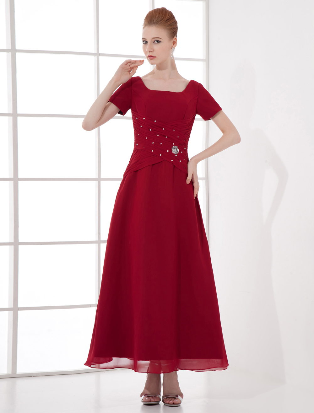 Burgundy Mother of The Bride Dress Maxi Ruched Beaded Chiffon Dress