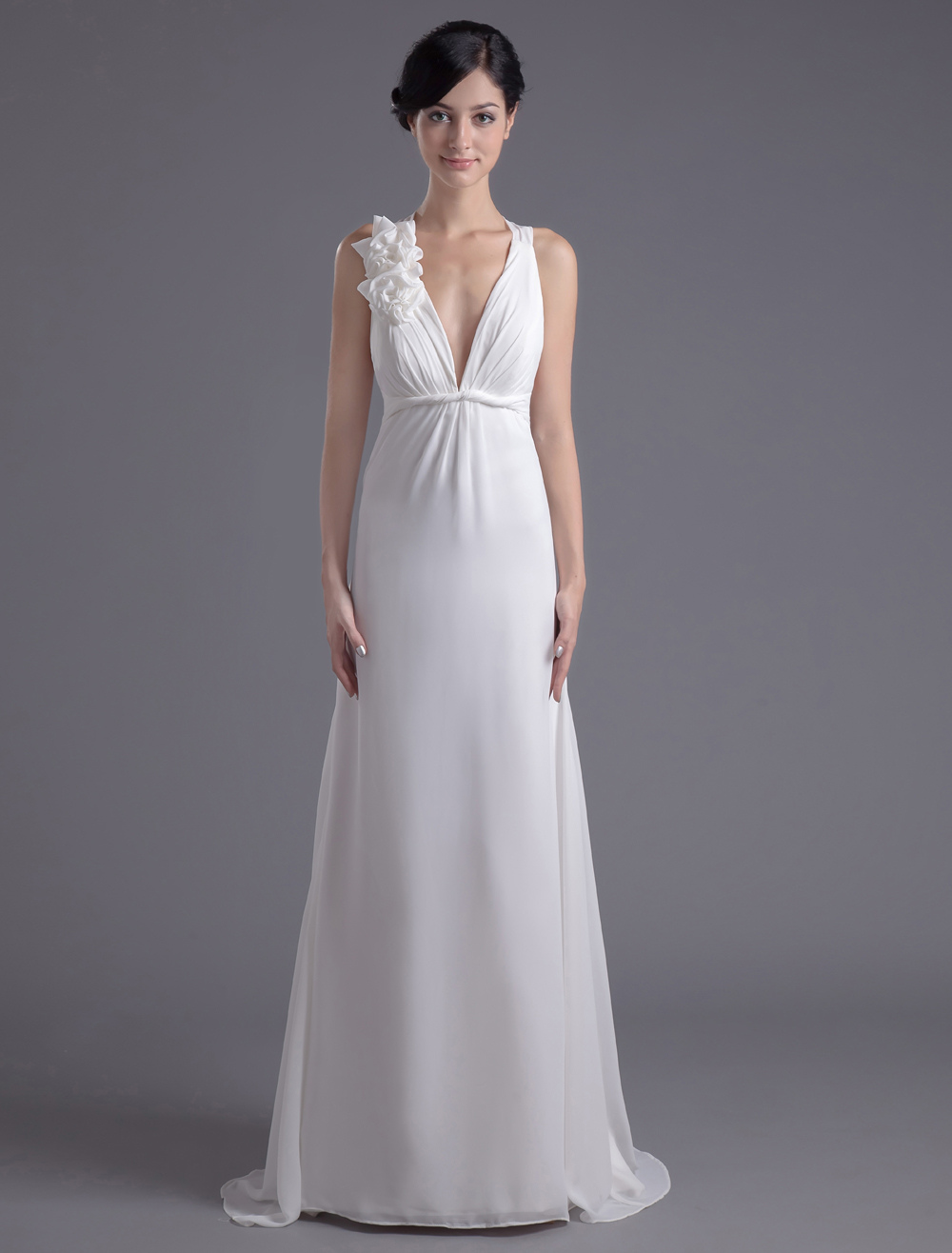 Buy Ivory Chiffon Floral V-Neck Evening Dress for $144.89 in Milanoo store