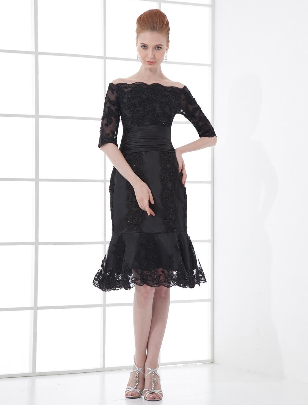 Gorgeous Black Bateau Neck Lace Knee Length Mermaid Cocktail Dress Wedding Guest Dress Milanoo Com,Womens Wedding Guest Dresses Fall
