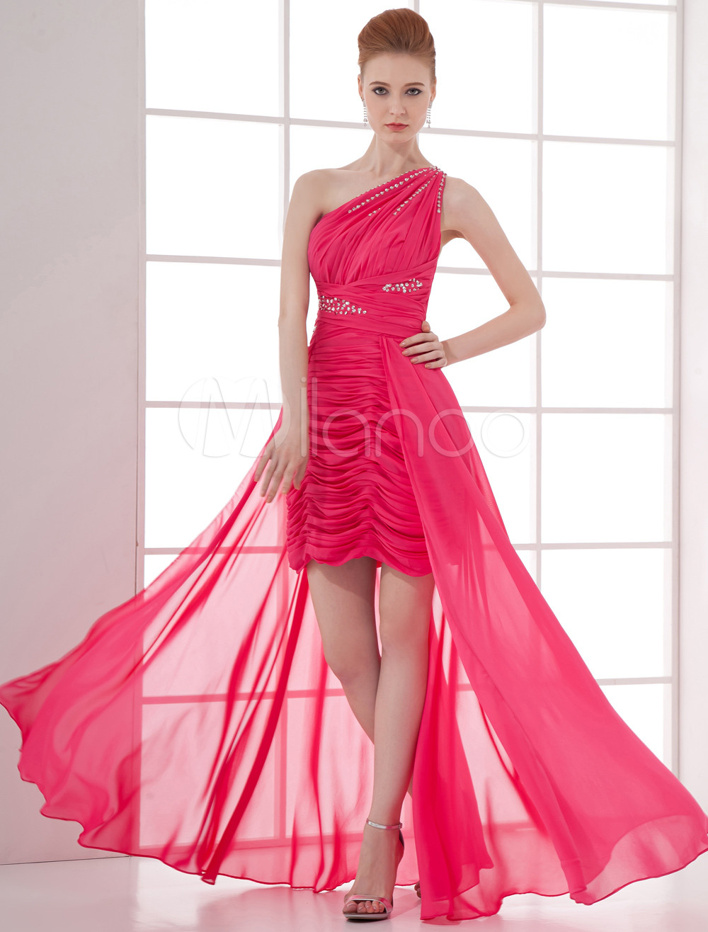 Hot Pink Prom Dress One Shoulder Chiffon Evening Dress High Low Beading  Floor Length Occasion Dress