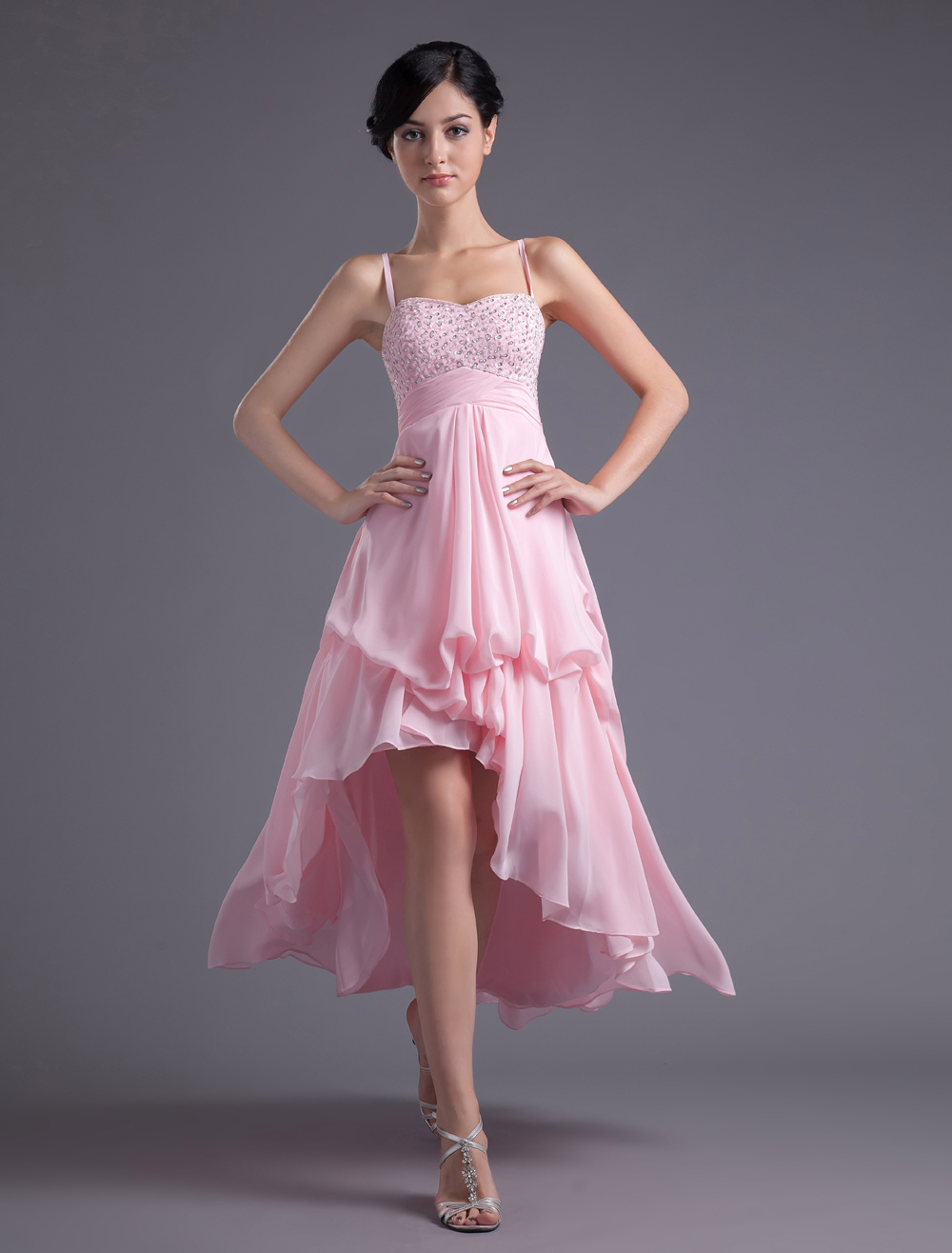 A-line Pink Chiffon Beading Straps Asymmetrical Women's Prom Dress