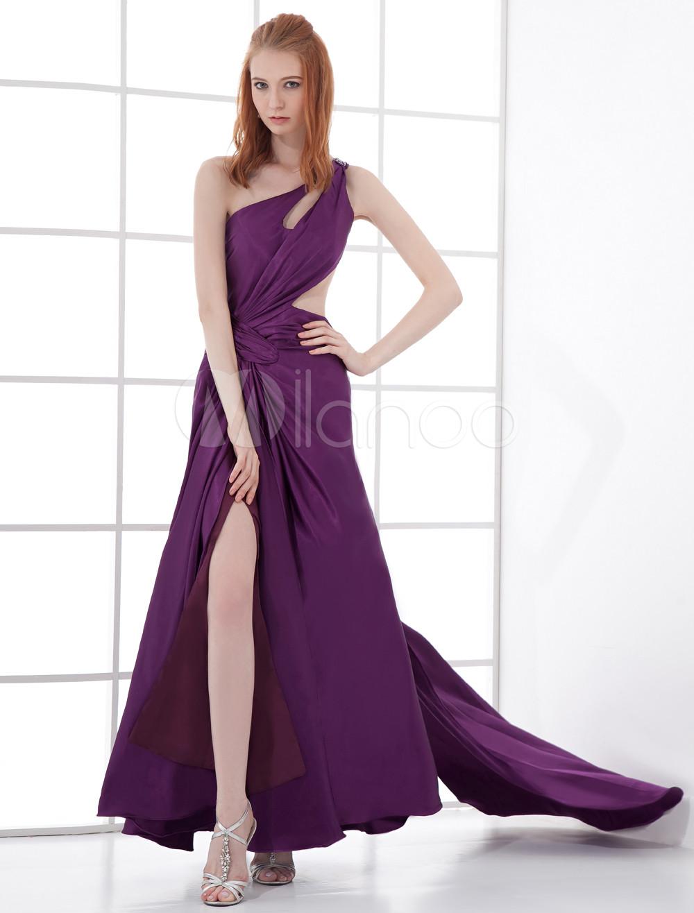 Vestido de fiesta de seda sintética de color morado de línea A ...