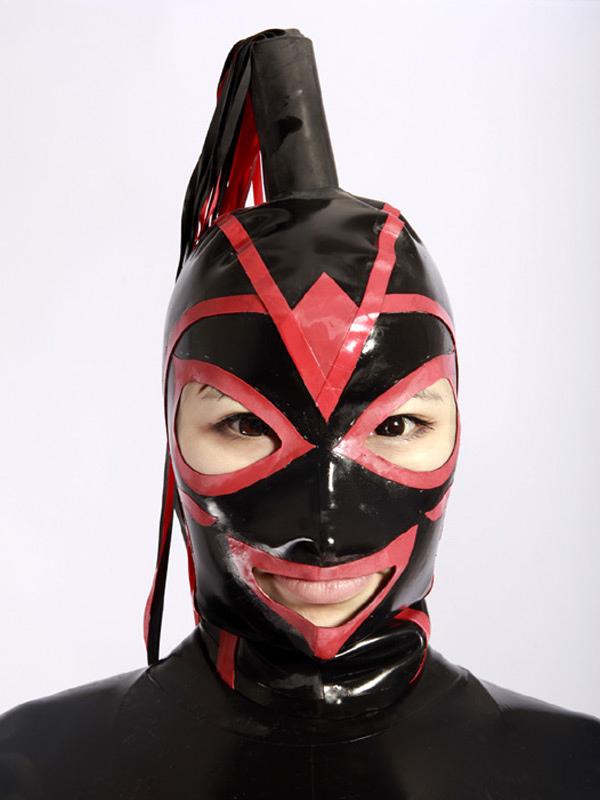 Halloween Red Black Split Unisex Catsuits & Zentai Hood Halloween