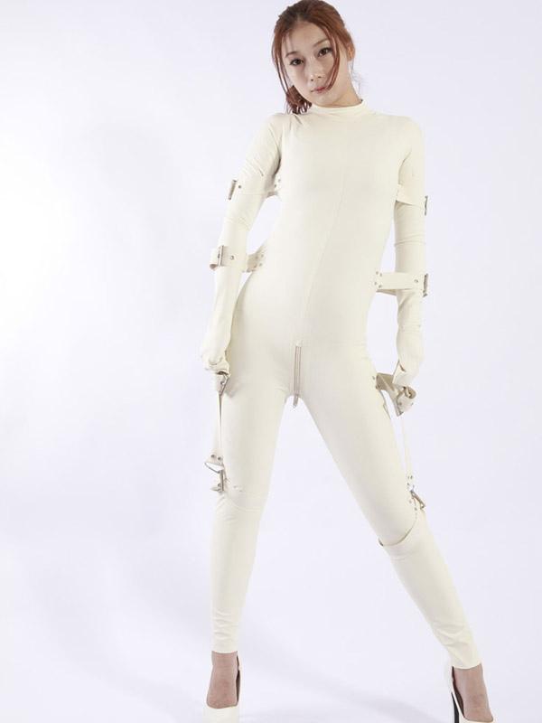 White latex womens catsuit