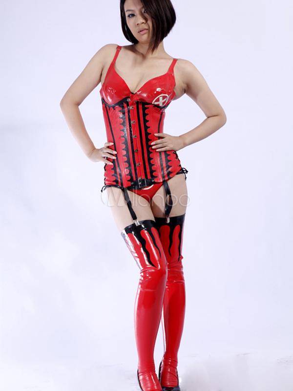 Halloween Sexy Red Women's Latex Bodysuit Halloween