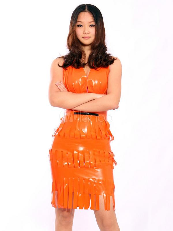 Halloween Fashion Orange Fringe V neck Women's Latex Dress Halloween