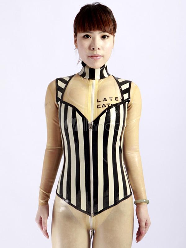 Black Stripe Pattern Unisex Latex Corset