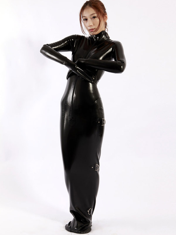 Halloween Unique Black Unisex Latex Catsuit Halloween