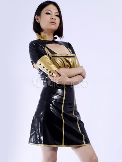 Halloween Elegant Black Color Blocking Women's Latex Dress Halloween