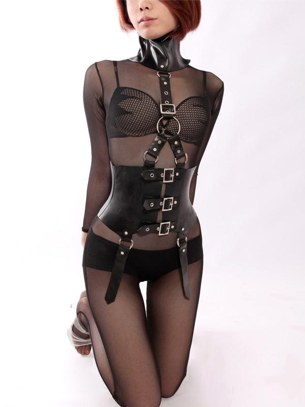 Halloween Women's Sexy Black Leotard Latex Corset Bra Briefs Buckles Bodysuit Halloween