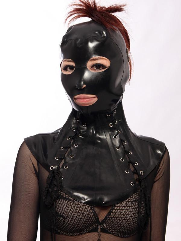 Halloween Black Lace Up Unisex Catsuits & Zentai Hood Halloween