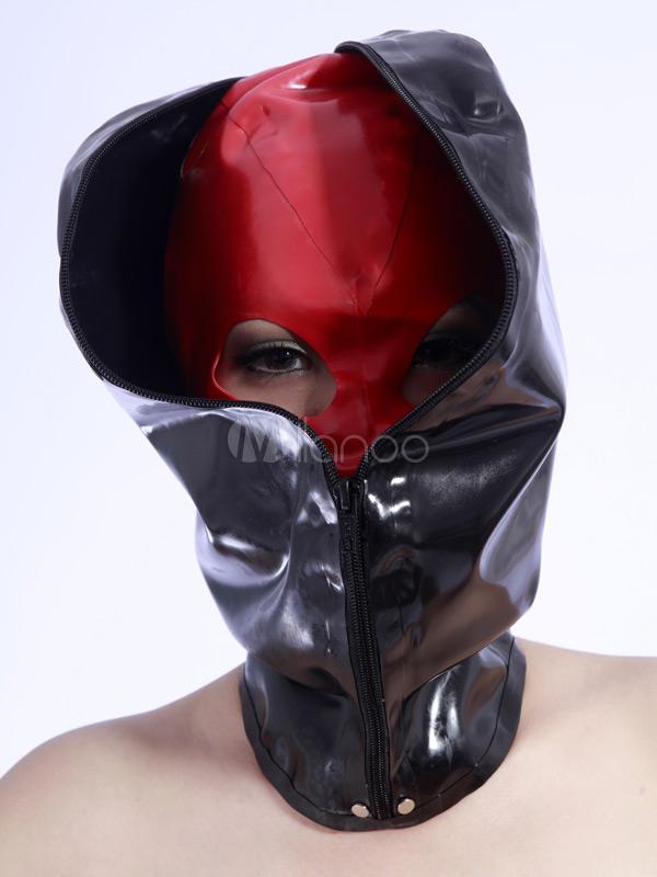 Halloween Black Zipper Latex Catsuit's Hood Halloween