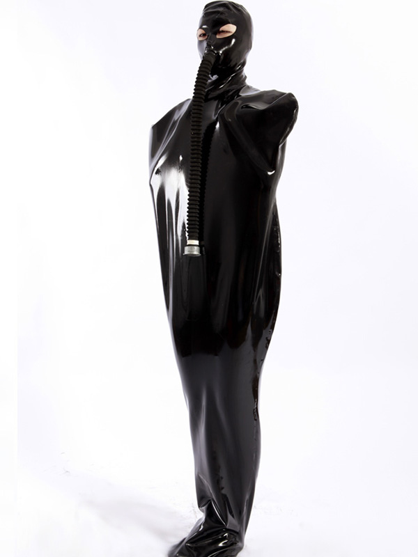 Halloween Shiny Black Zentai Latex Unisex Sleevesless Unique Costume Halloween