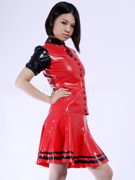 Halloween Black Red Split Stand Collar Women's Latex Dress Halloween