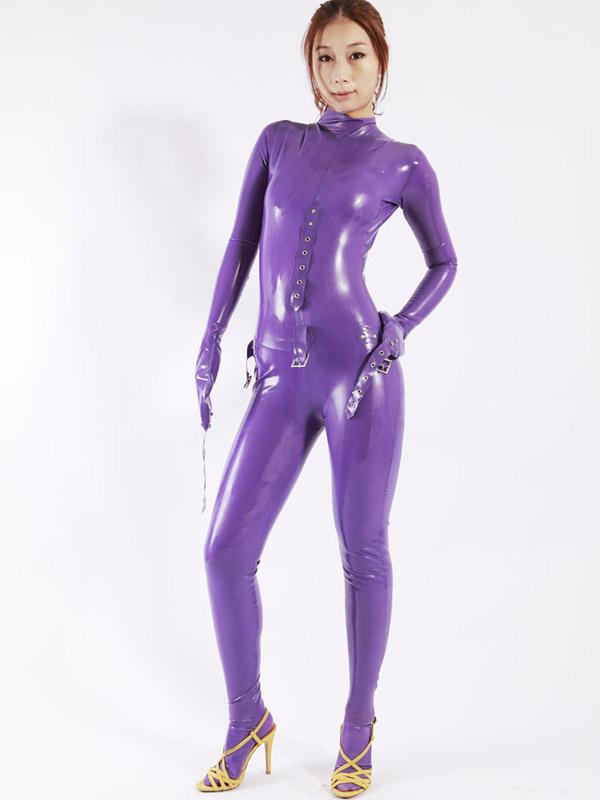 Halloween Cool Purple Women's Latex Catsuit Halloween