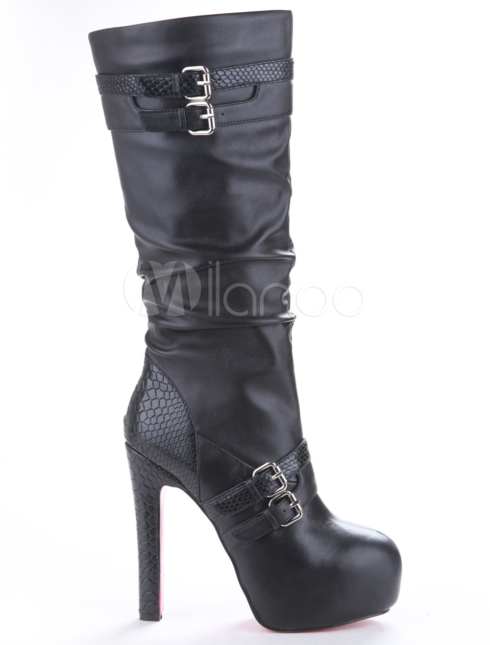 Spike Heel Sheepkin Mid Calf Boots