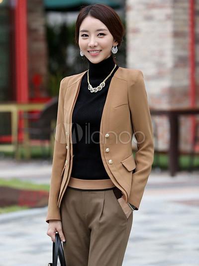 Abbigliamento casual formale cachi di cotone femminile - Milanoo.com 5ffd8e41d4b