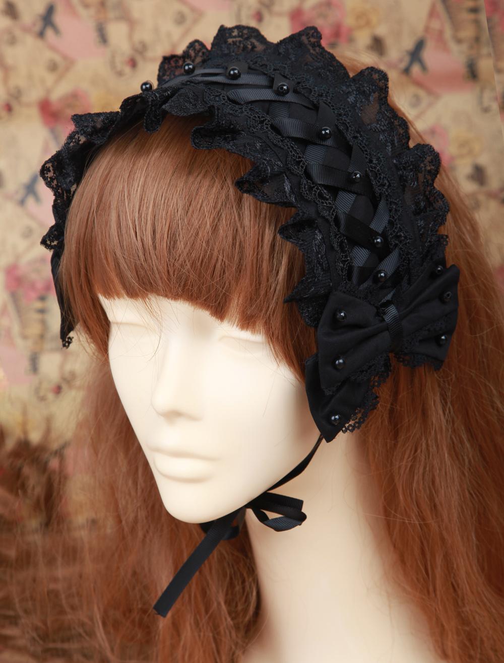 Buy Black Gorgeous Cotton Lolita Headdress for $22.39 in Milanoo store