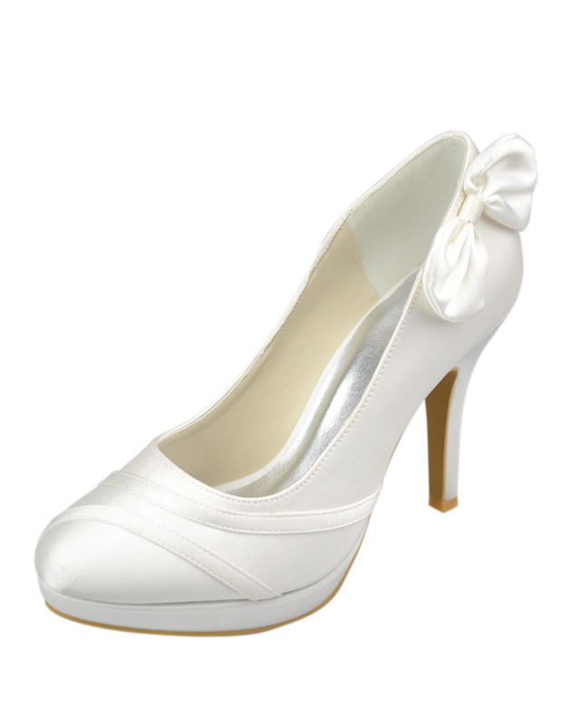 Ivory Round Toe Platform Bow Satin Wedding Shoes