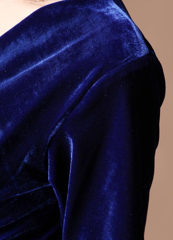 1837a436297 A-line Royal Blue Velvet V-Neck Tea-Length Fashion Cocktail Dress Wedding  Guest Dress - Milanoo.com