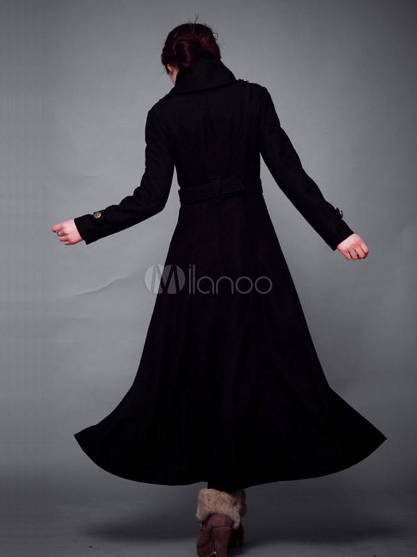 feinste Auswahl akribische Färbeprozesse 100% Zufriedenheit Britischer Stil schwarze Wolle langer Trenchcoat für Damen