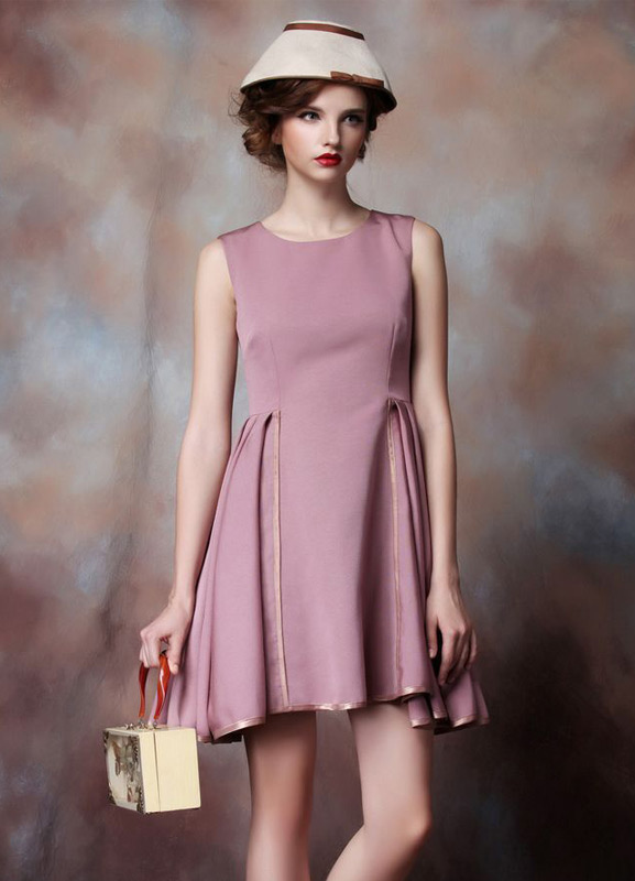 Buy Sleeveless Cocktail Dress Cameo Pink Pleated Short Prom Dress Round Neck Mini Wedding Party Dress Wedding Guest Dress for $101.99 in Milanoo store