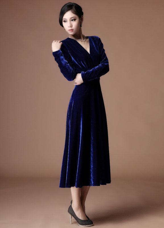 985960ca89a ... A-line Royal Blue Velvet V-Neck Tea-Length Fashion Cocktail Dress  Wedding ...