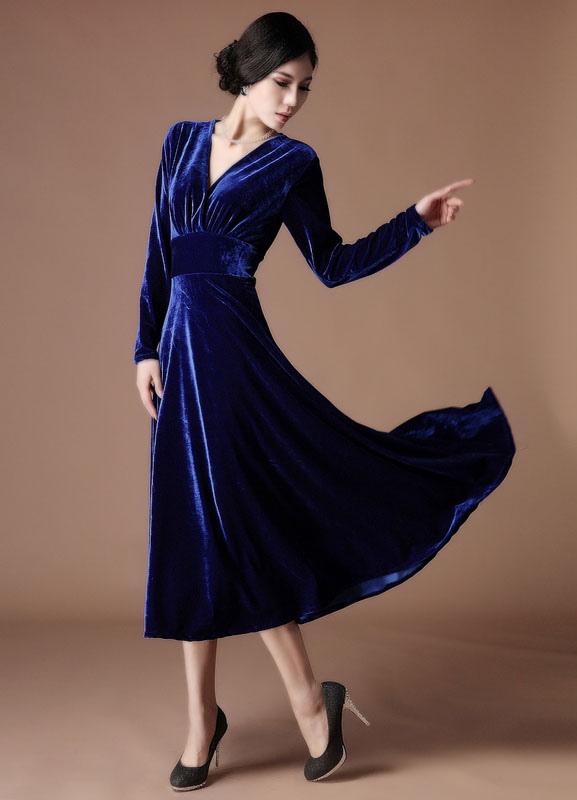 82d5d7d377799 A-line Royal Blue Velvet V-Neck Tea-Length Fashion Cocktail Dress Wedding  Guest Dress