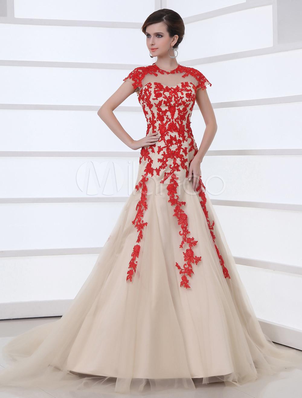 A-line Champagne Net Applique Peter Pan Collar Prom Dress