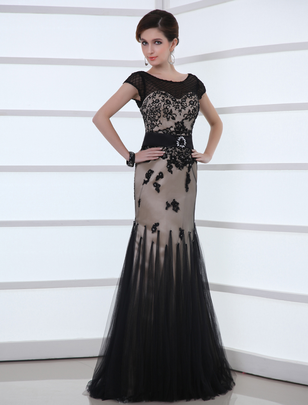 Lace Applique Black Wedding Dress Mermaid Illusion Neckline Satin Sash