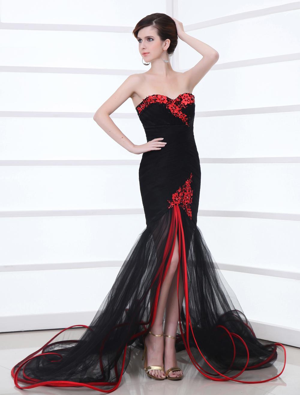 2177b9ed28f5 Mermaid Black Wedding Dress Split Red Trim Lace Applique - Milanoo.com
