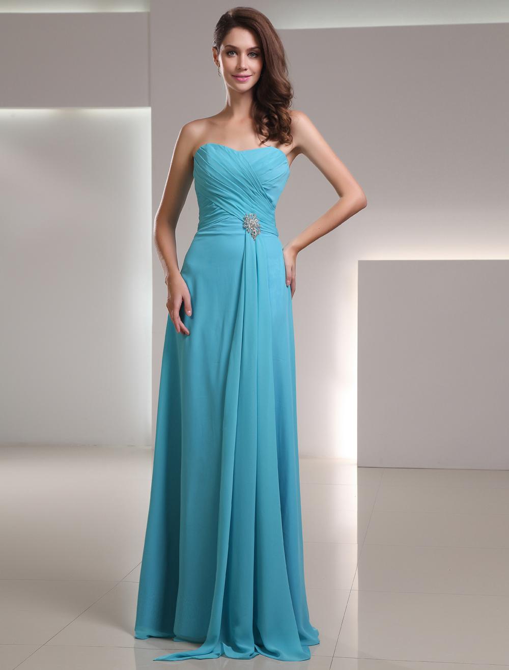 Buy Long Bridesmaid Dress Chiffon Aqua Sweetheart Strapless Floor Length Wedding Party Dress for $108.89 in Milanoo store