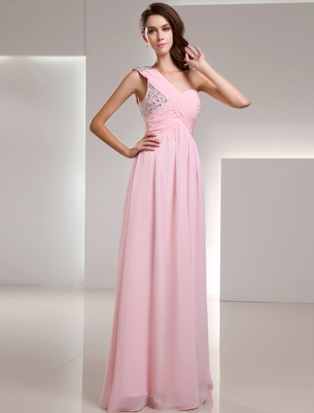 Pink One-Shoulder Sequin Chiffon Prom Dress