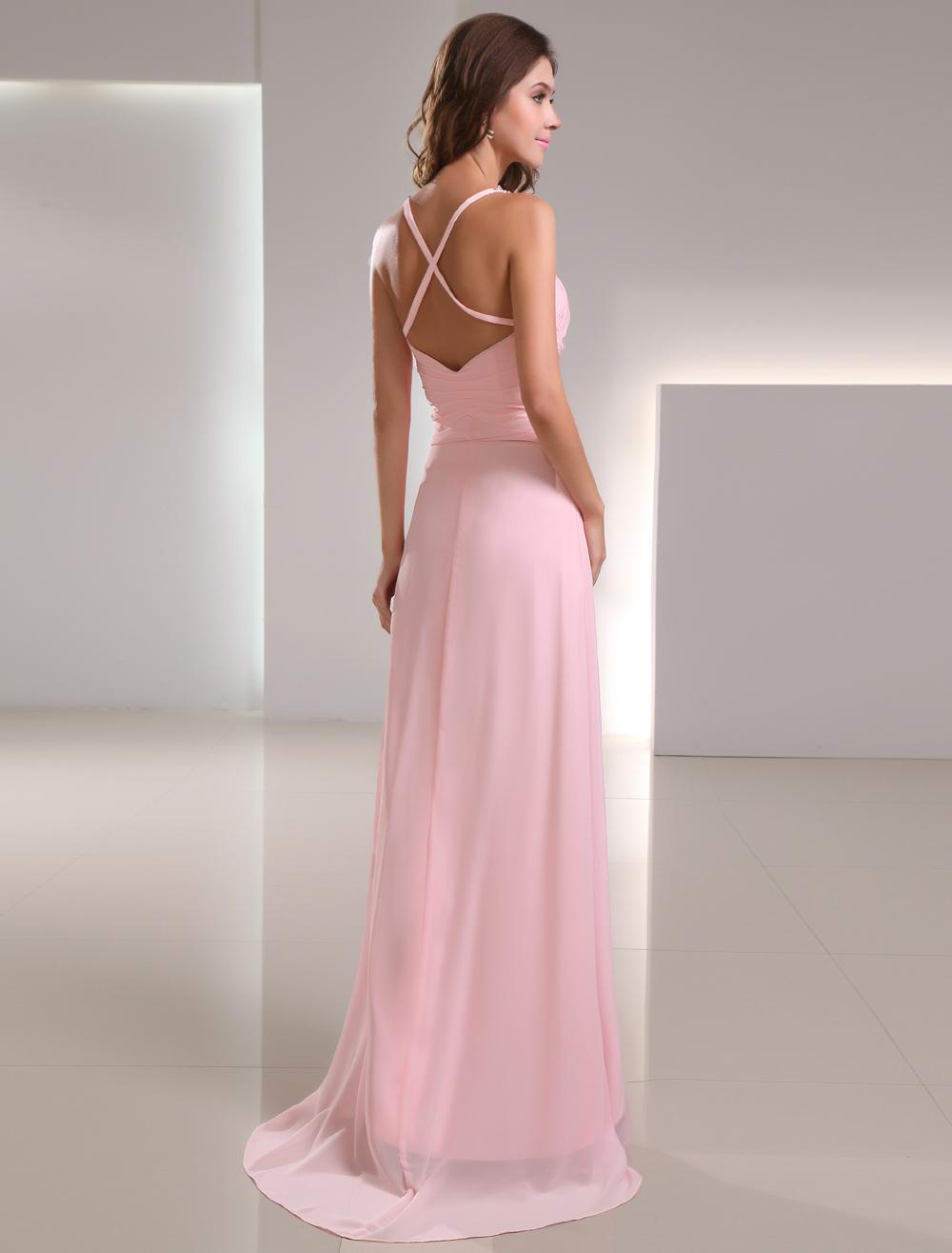 Vestido de fiesta de gasa rosada con abertura en la pierna de cola ...