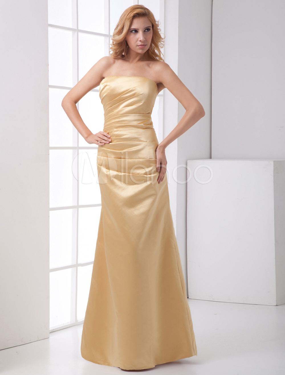 Sheath Gold Champagne Satin Floor-Length Fashion Bridesmaid Dress