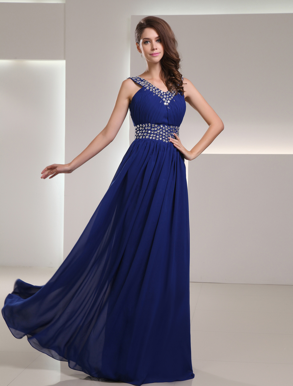Royal Blue Chiffon Empire Waist Prom Dress with V-Neck Sleeveless Rhinestone