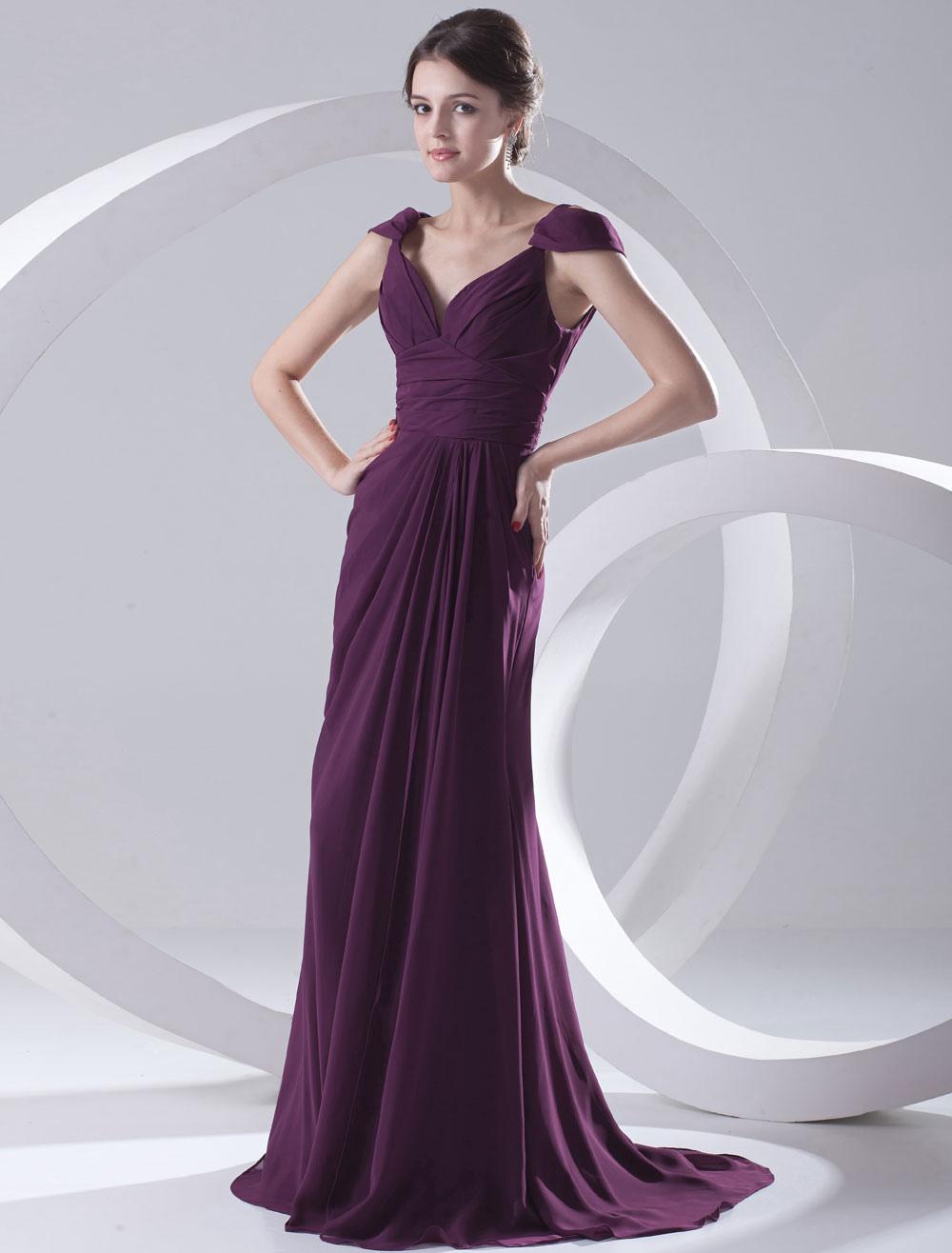 Grape Chiffon Off-The-Shoulder Evening Dress