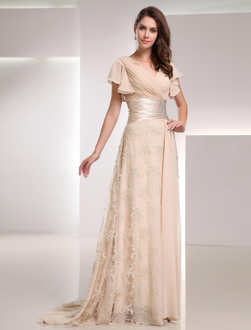Champagne Evening Dress Sash Ruched Rhinestone Lace Chiffon Dress